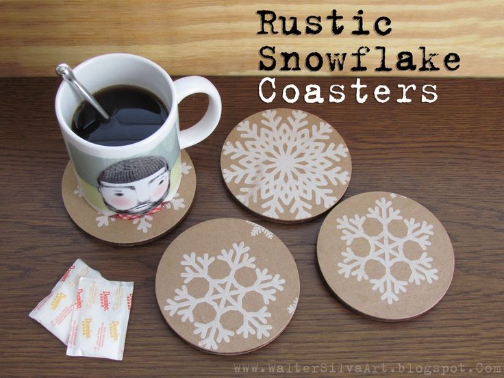 Beautiful Snowflake Wood Drink Coasters Set Of Four   Rustic Laser Cut Coasters    Handmade Gift Coasters   Rustic Decor Drink Coasters Amazing Pictures
