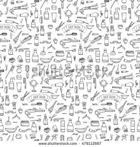 Seamless pattern hand drawn doodle Hair salon icons set. Vector illustration. Barber symbols collection. Cartoon hairdressing equipment elements: shampoo, mask, hair die, scissors, iron, hair dryer - Shutterstock Premier