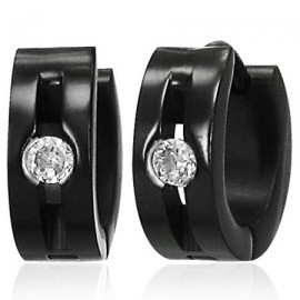 Black Stainless Steel Hoop Earrings For Men With CZ Stones #fashion #jewellery #earring #black