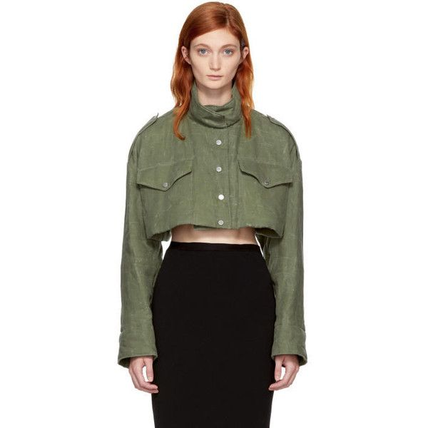 Off-White Green Cropped Canvas M65 Jacket (€1.205) ❤ liked on Polyvore featuring outerwear, jackets, green, green jacket, off white jacket, standing collar jacket, padded jacket and green cropped jacket