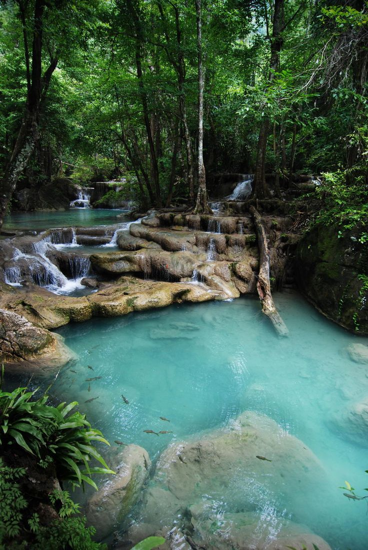 One of the most beautiful places I've ever seen!  Erawan National Park, Erawan Falls, Thailand