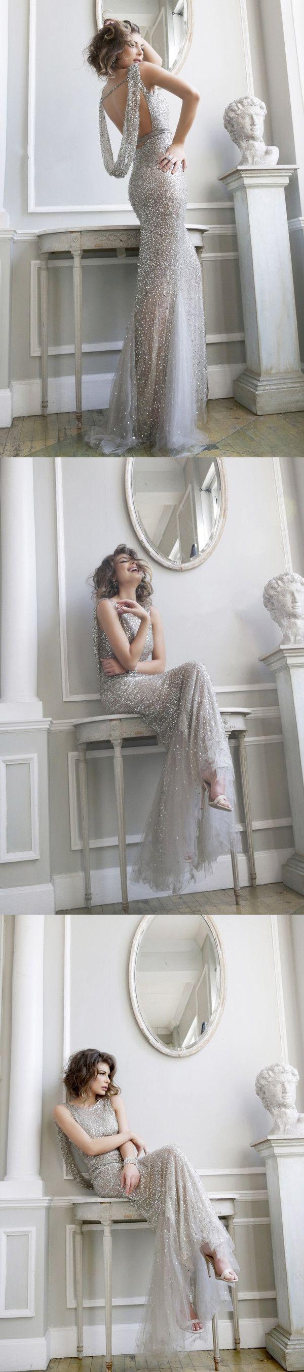 Designer Elegant Long Prom Dress,Silver Sequin Stunning Prom Gown,Modest Celebrity Dresses,Evening Dress