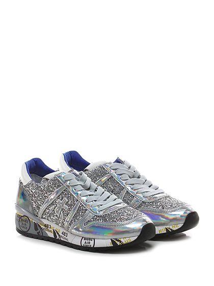 PREMIATA - Sneakers - Donna - Sneaker in pelle specchiata e pietre colorate con suola in gomma. Tacco 40, platform 20 con battuta 20. - 1411 SILVER - € 267.00