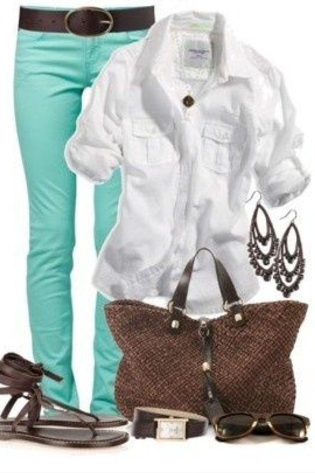 Spring outfit - like this color combo - pop of color with the pants with a white shirt. Can be dressed up with the right shoes and accessories.