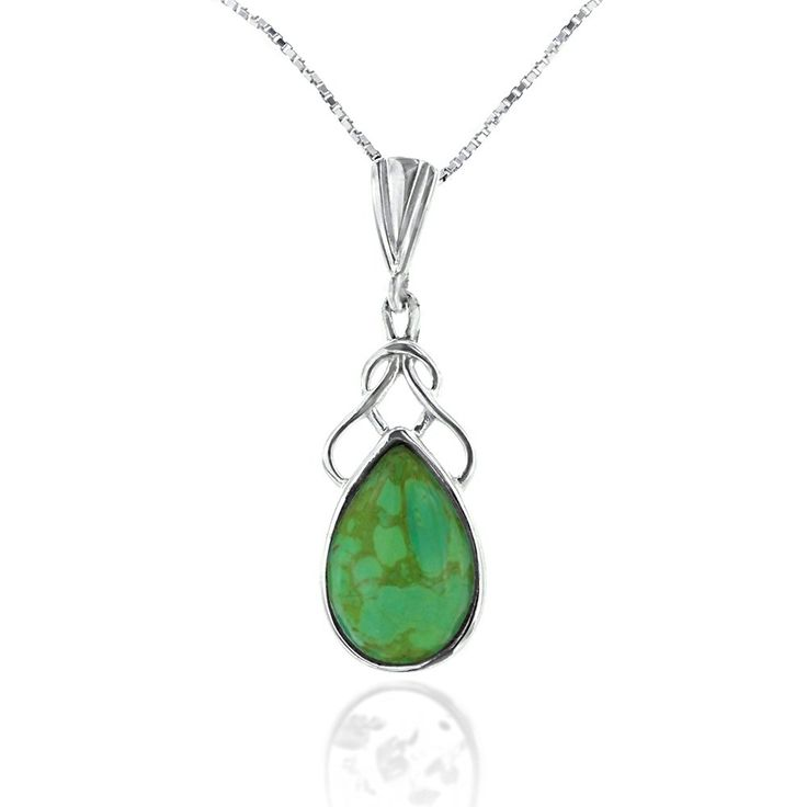 Rhodium Plated 925 Sterling Silver Green Turquoise Gemstone Simple Knot Pendant Necklace, 18 inches