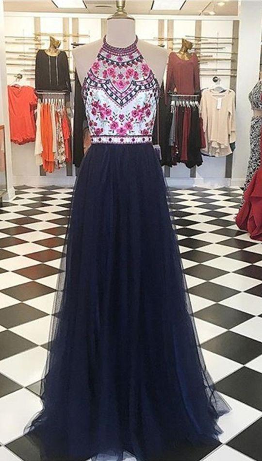 Prom Dresses,Evening Dress,Party Dresses,Modern Halter Floor-Length Navy Blue