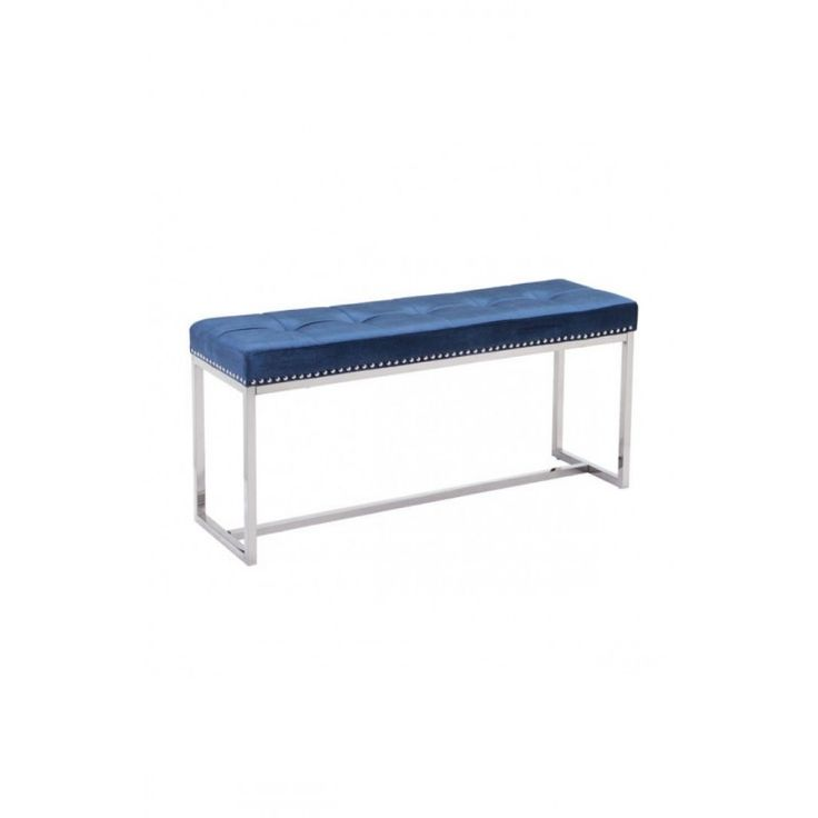 Sophisticated Blue Velvet Bench https://www.studio9furniture.com/bedroom/benches/synchrony-bench-cobalt-blue-velvet  A bench that will never run out of style is cushioned with a blue fabric with button tufted upholstery.