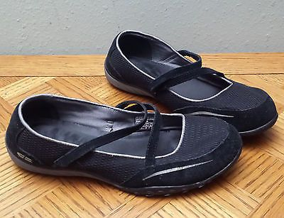 Skecher Mary Jane Womens Black suede Flats Velcro Straps Size 9.5