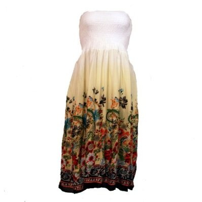 Ladies Strapless Bandeau Maxi Summer Dress with Floral Design - Yellow £14.95