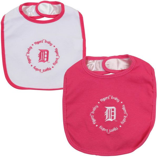 Infant Detroit Tigers 2-Pack Baby Bibs - Pink/White