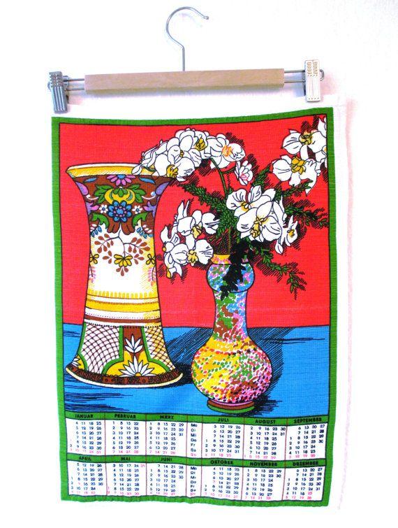 Flowers Tea Towel Pink & Blue Calendar by MyBeautifulBavaria