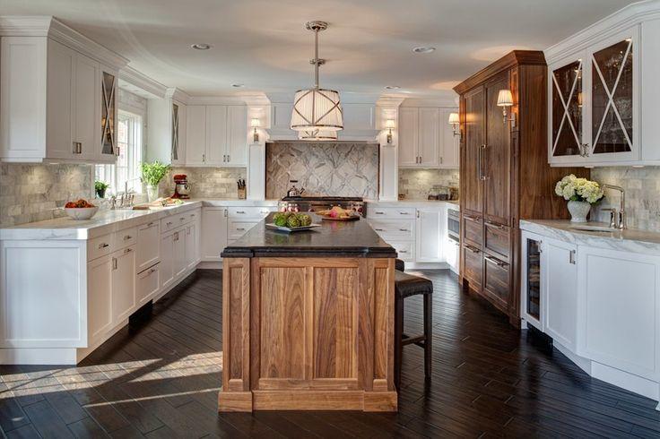 Amazing walnut color kitchen transitional with two-tone cabinets stovetop tea kettles