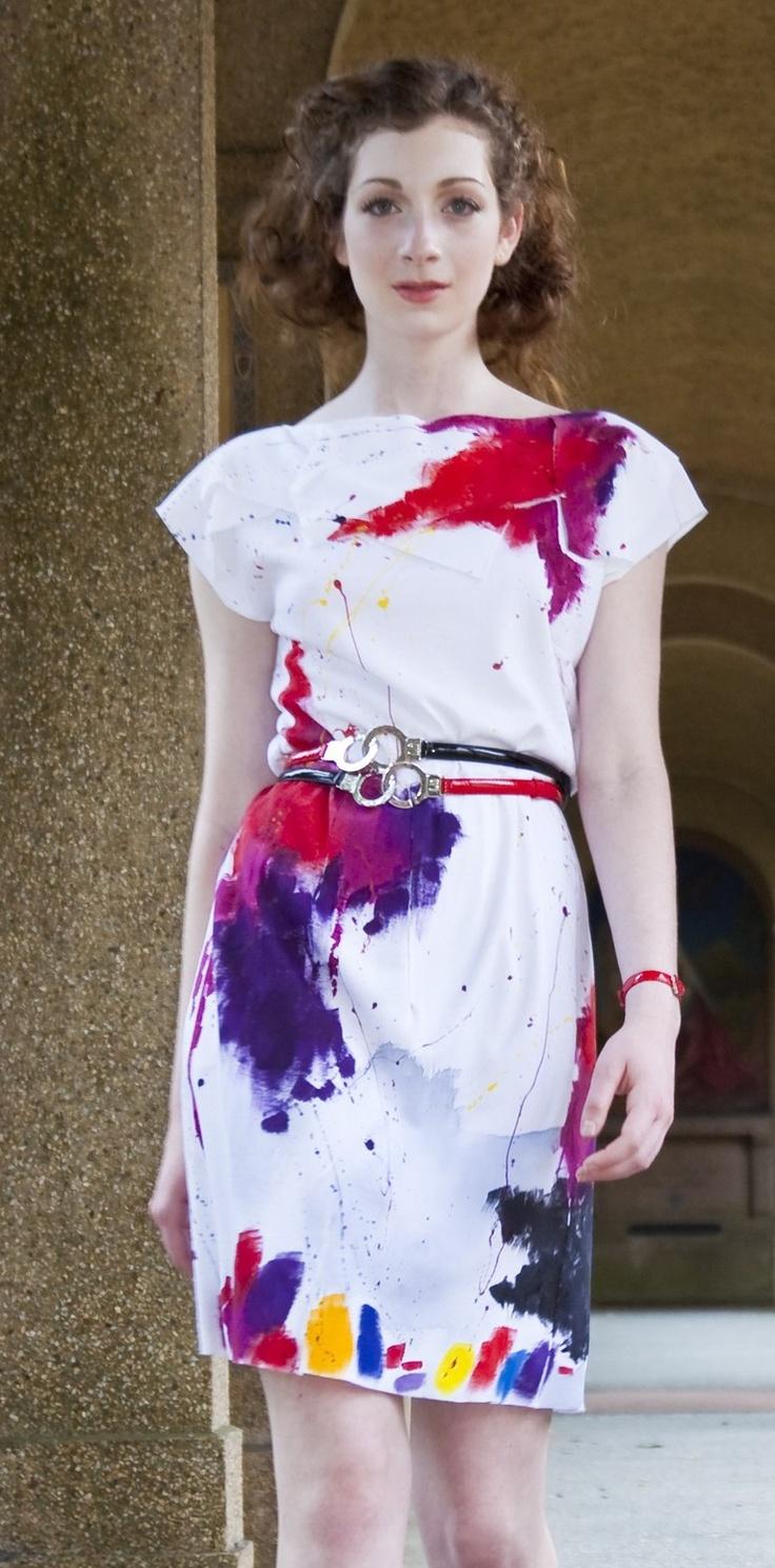 Abstractly painted DRESS/ Minimalist dress/ Galaxy dress/ White dress/ rusteam/ bright fashion. via Etsy.