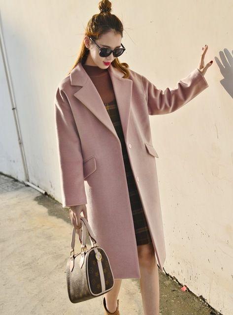 2016 Automne Hiver Mode Femmes Laine Manteau Lâche Imitation Cachemire Survêtement Rembourré Doublure Pardessus Poussiéreux Rose Gris Marine Noir