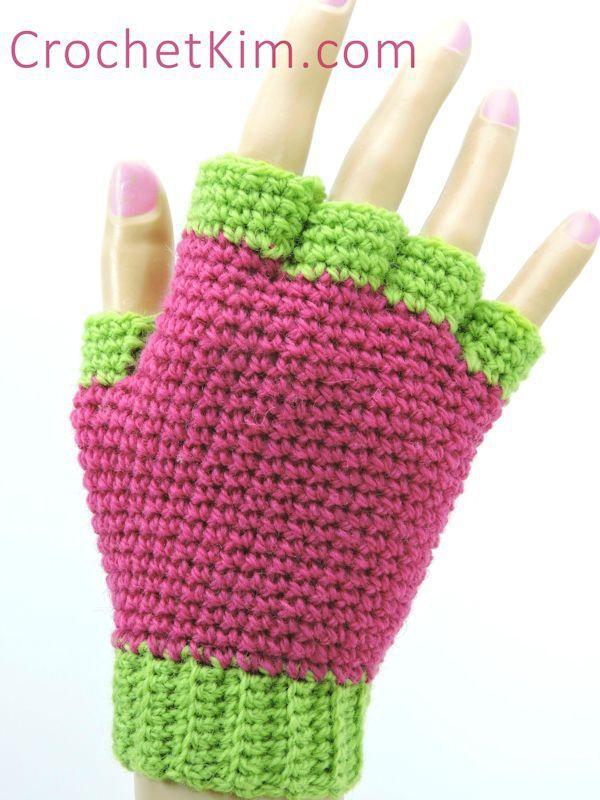 CrochetKim Free Crochet Pattern | Jersey Mitts Fingerless Mitts Gloves ~k8~