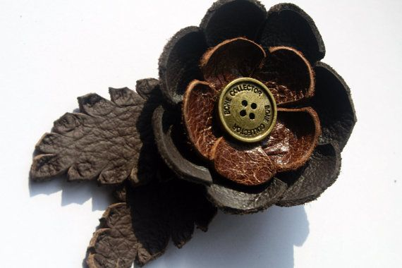 Brown real leather flower clip or brooch. by BattieClothing