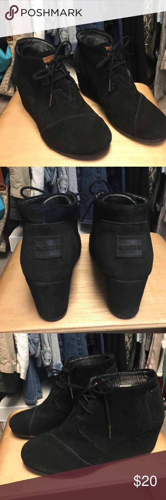 TOMS Black Suede Wedge Bootie Size 8 Used TOMS black suede bootie wedge size 8. In great condition. TOMS Shoes Ankle Boots & Booties