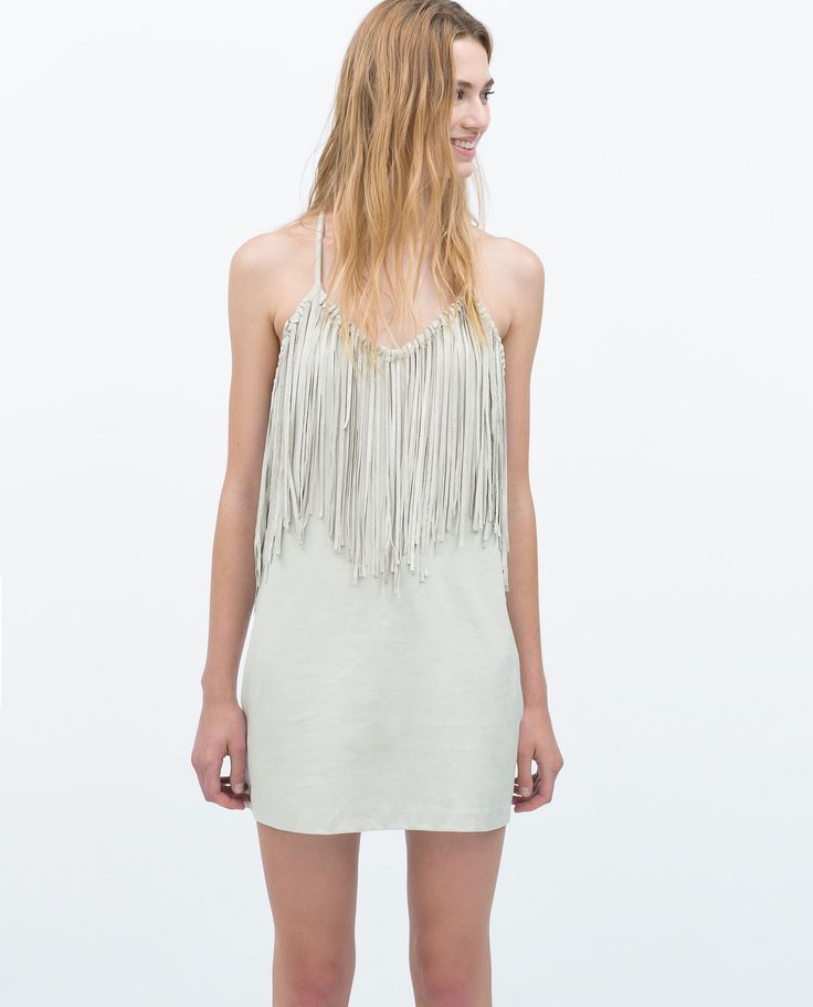 ZARA Faux Suede Fringe Dress