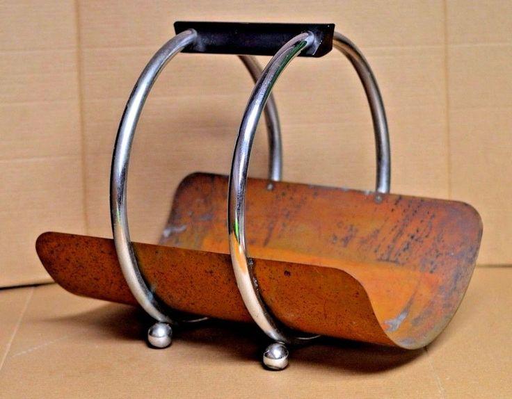 Art Deco Revere Copper & Brass Rome NY Magazine Rack 1936 Leslie Beaton #ArtDeco #RevereCopperBrass