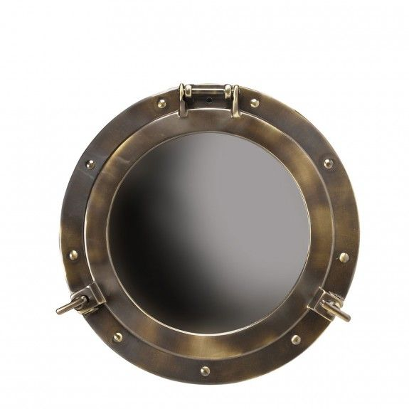 Authentic Models Small Brass Porthole Mirror
