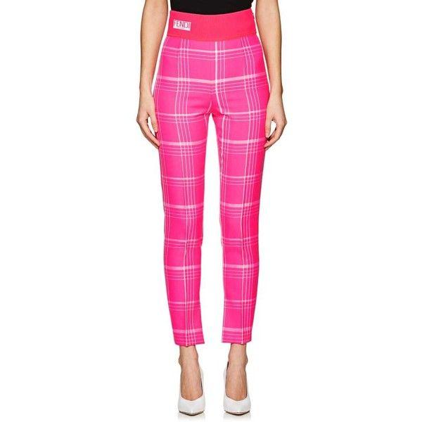 Fendi Women's Logo-Waistband Plaid Wool Pants ($950) ❤ liked on Polyvore featuring pants, pink, fendi, pink trousers, tartan pants, pink pants and plaid pants