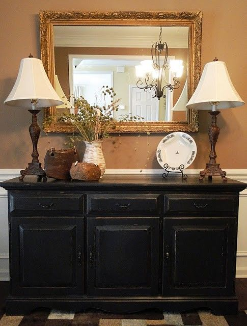 Buffet In Distressed Black . How To Paint Used Furniture   Tips For DIY (via