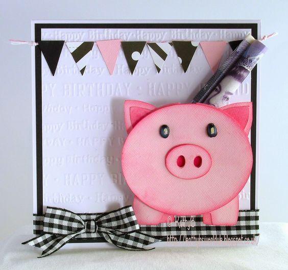 Объемная открытка свинка, поздравление
