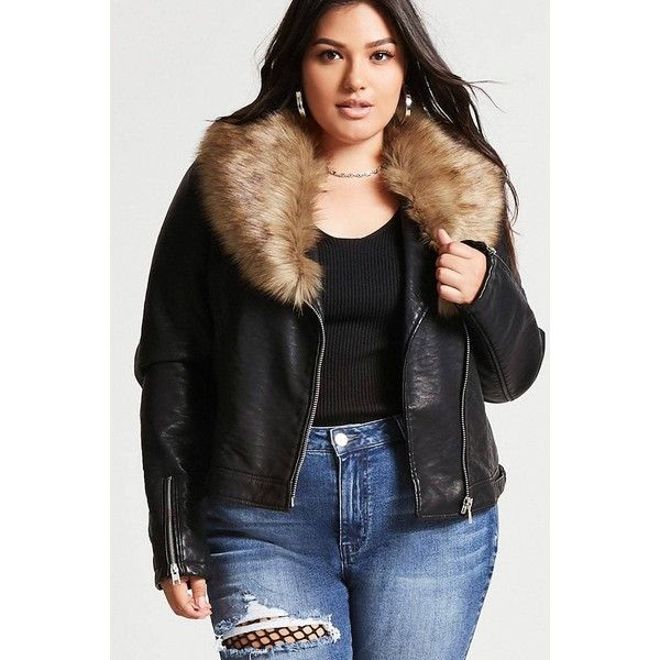 5b62a5eeb4b Forever21 Plus Size Faux Leather Jacket ( 48) ❤ liked on Polyvore featuring plus  size women s fashion
