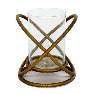 Kovový svícen Golden, 20x20x23 cm
