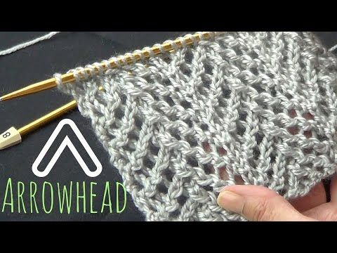 How to Knit the Arrowhead Lace Stitch (English Style) - YouTube