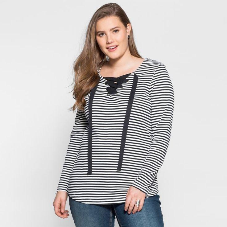 T-shirt marinière lacé. Collection Mode Blancheporte PE17. Du 42 au 60.