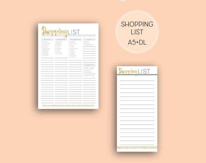 Printable Shopping List, Grey and gold home binder printable digital download in grey and gold