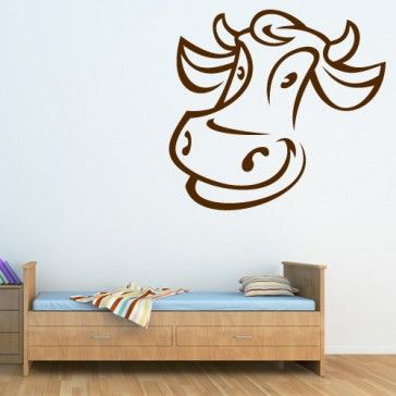 Animated Cow with Horns Wall Sticker Wall Art Decal - Cows and Sheep - Farm Yard Animals - Animals