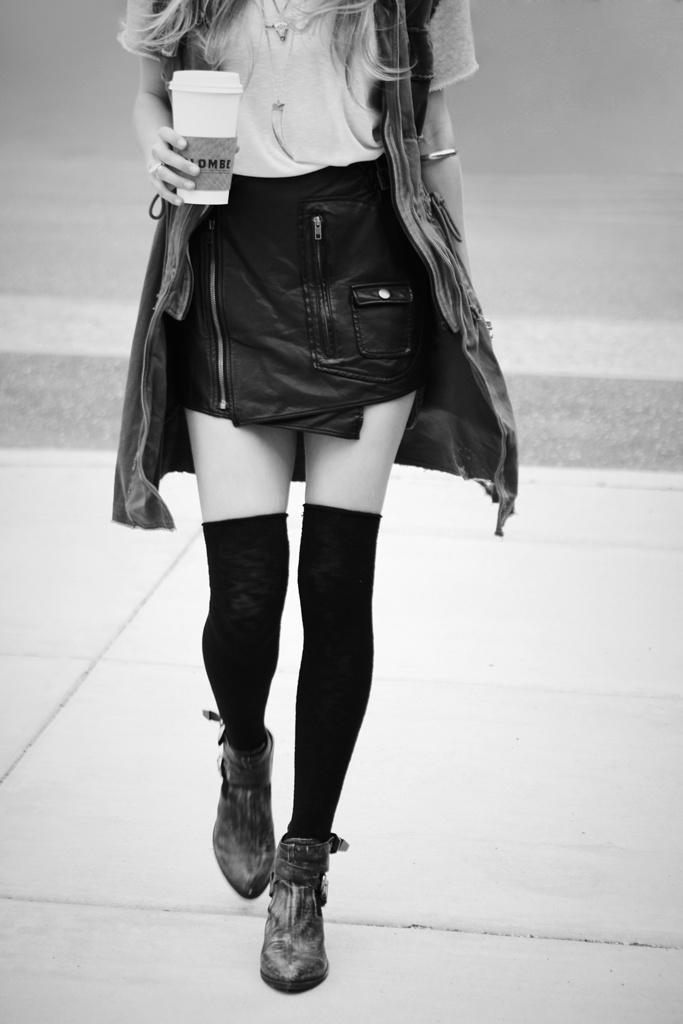 Asymmetrical skirts and thigh-high socks.