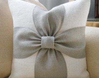 Burlap bow pillow cover in blush pink and off by LowCountryHome