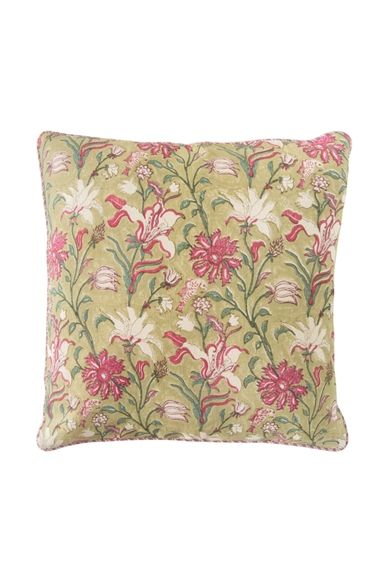 Goodearth - Nishaat Bagh :Jaal Linen Cushion - Lime
