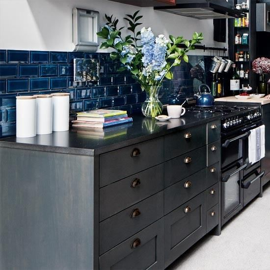 Plain Images Of Kitchen Back Splashes 30 unique and inexpensive diy kitchen backsplash ideas you need to see Blue Tiles For The Backsplash Coupled With Dark Cabinets