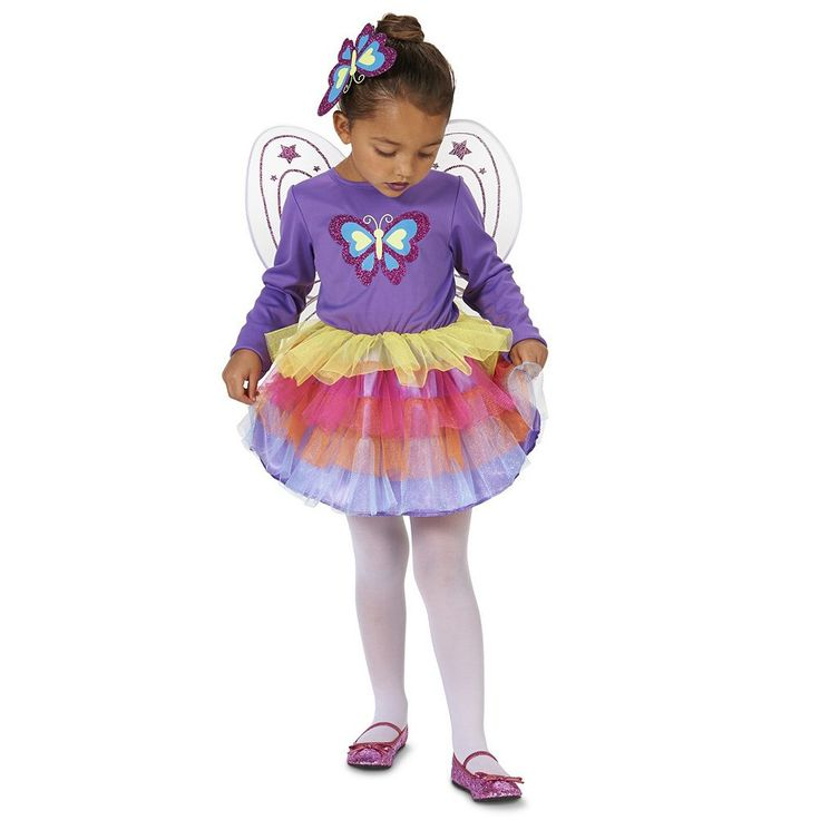 Toddler Neon Purple Butterfly Costume, Girl's, Size: 2T-4T, Multicolor