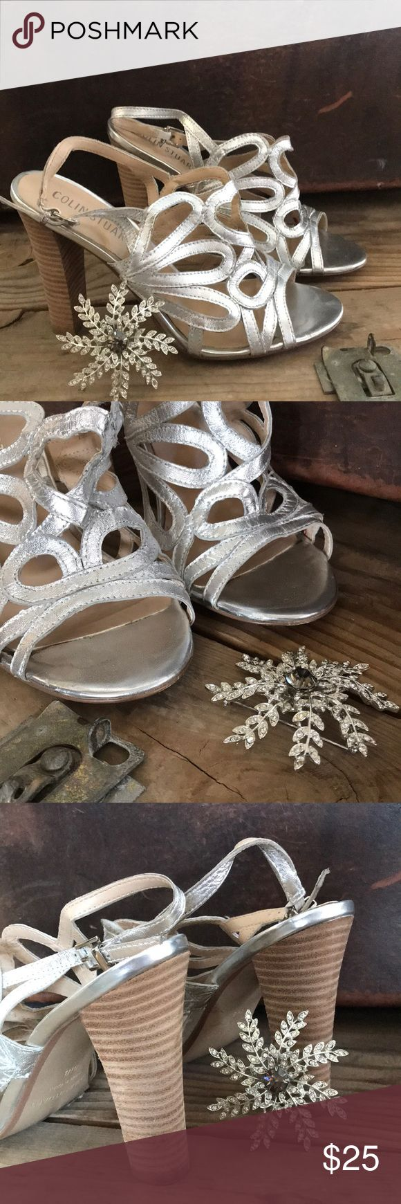 Colin Stuart Heels Silver, open-toed heels by Colin Stuart. Heel strap. Colin Stuart Shoes Heels