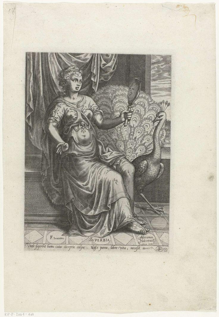 Anonymous | Hoogmoed, Anonymous, Adriaen Huybrechts (I), 1575 | Personificatie van Hoogmoed in de gedaante van een zittende vrouw, die in een bolle spiegel in haar hand kijkt. Achter haar een draperie. Naast haar de pauw als haar attribuut. In de marge een éénregelig onderschrift in het Latijn.