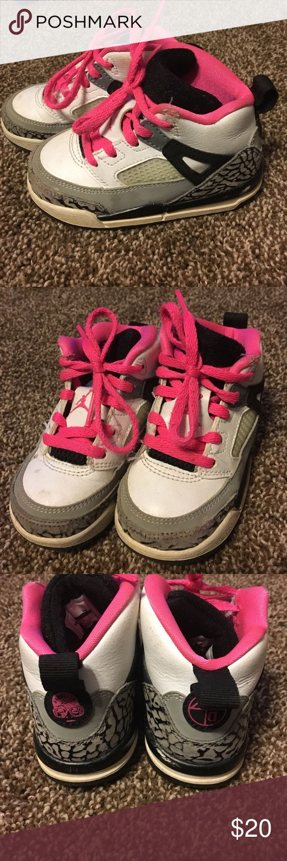 Girl's size 6 c toddler's Jordan sneakers Gray, pink, black, and white Jordan sneakers - very nice and comfortable. Jordan Shoes Sneakers