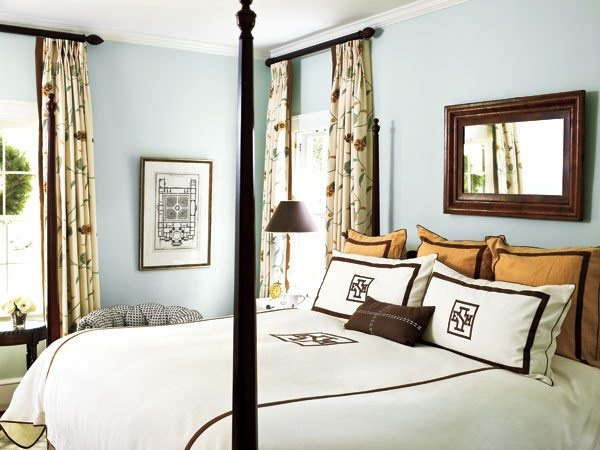 soft blue and chocolate brown......Southern Living