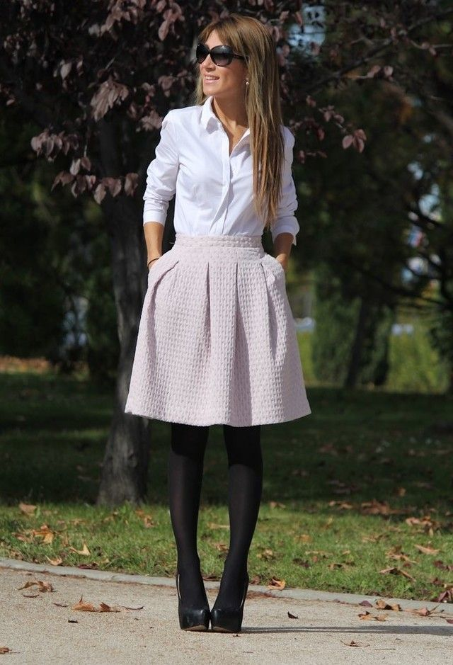 white button down, quilted pleated pink skirt, tights, heels. What You Should Have In Your Wardrobe For Your Office Attire
