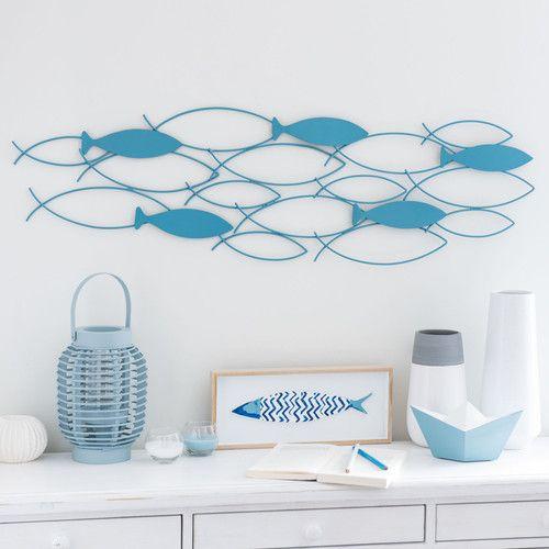 Decorazione da parete pesci in metallo azzurro 27 x 94 cm