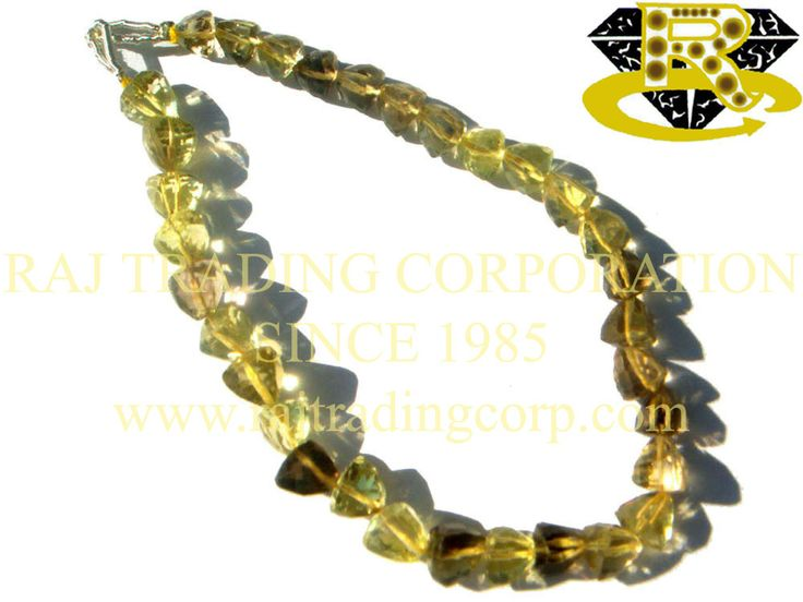Bio Lemon Faceted Trillion (Quality AA) Shape: Trillion Faceted Length: 18 cm Weight Approx: 8 to 10 Grms. Size Approx: 5.5 to 7 mm Price $16.20 Each Strand