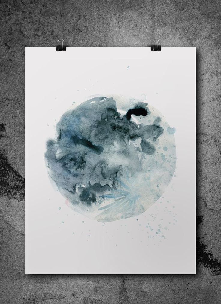 once in a blue moon  watercolour print