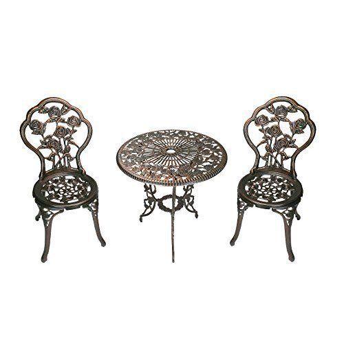 3 Piece Garden Patio Set Table Chairs Bistro Style Cast Aluminium  Home &  Garden,