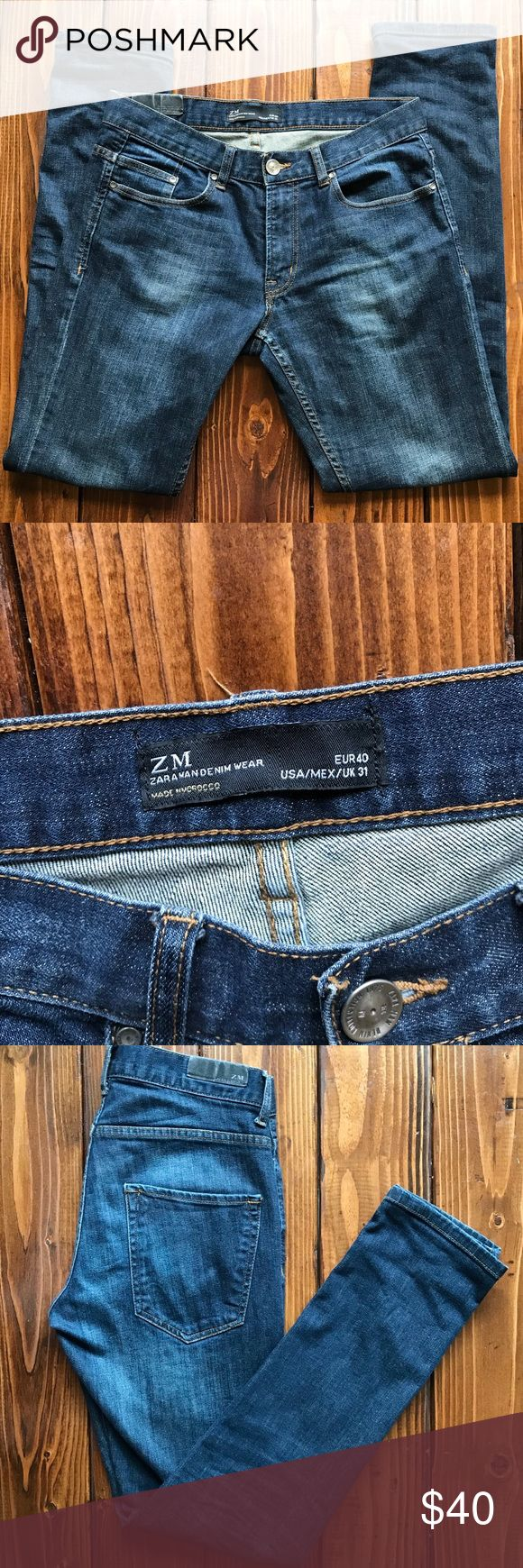 Zara Man Denim Wear Skinny Jeans Size 31 Zara Man Denim Wear Skinny Jeans for Men. Size 31. Inseam 32. Nice washed dark blue color. Faded label. Excellent condition. No flaws. Make me an offer! :) Zara Jeans Skinny