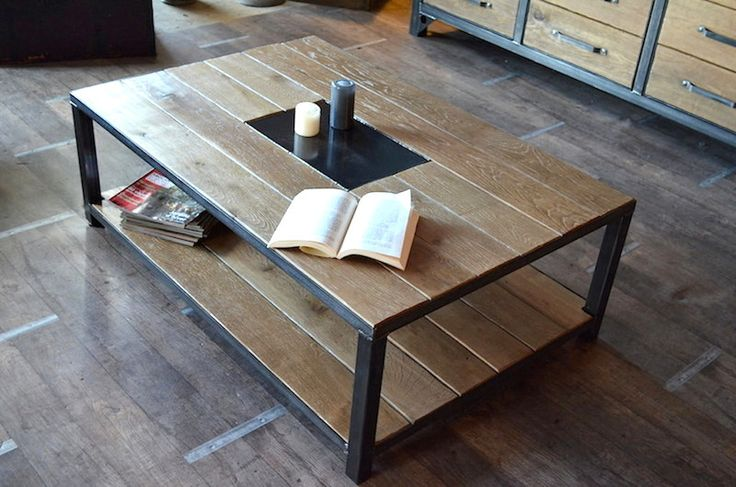 Table basse industrielle bois vieilli fabrication la - Table bois metal industriel ...