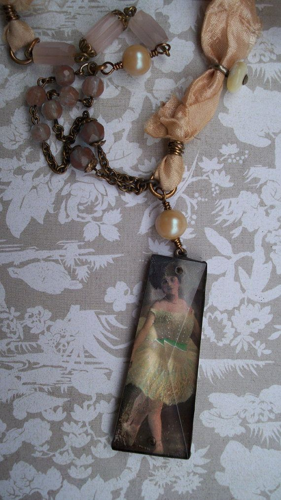 French Ballerina Necklace - Vintage Assemblage Necklace with Chandelier Pendant - One of a Kind Ballet Necklace
